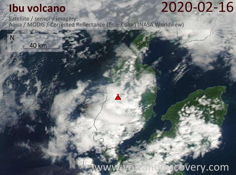 Satellite image of Ibu volcano on 16 Feb 2020