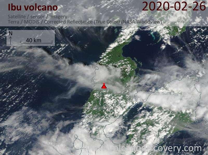 Satellite image of Ibu volcano on 26 Feb 2020