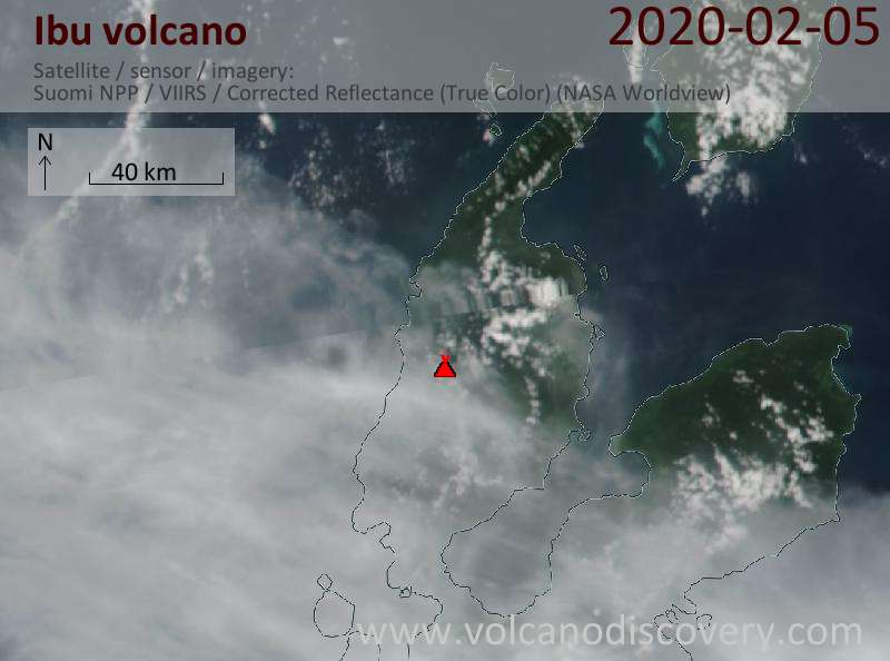 Satellite image of Ibu volcano on  5 Feb 2020
