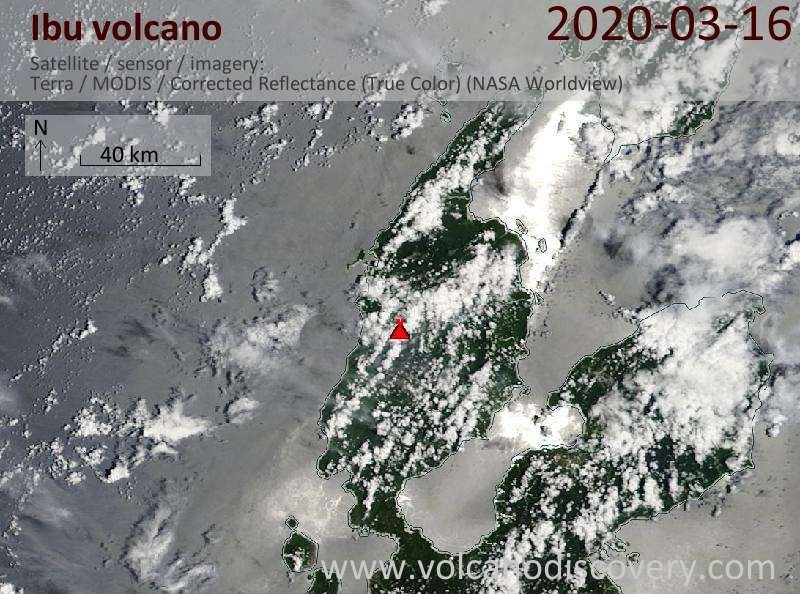 Satellite image of Ibu volcano on 16 Mar 2020
