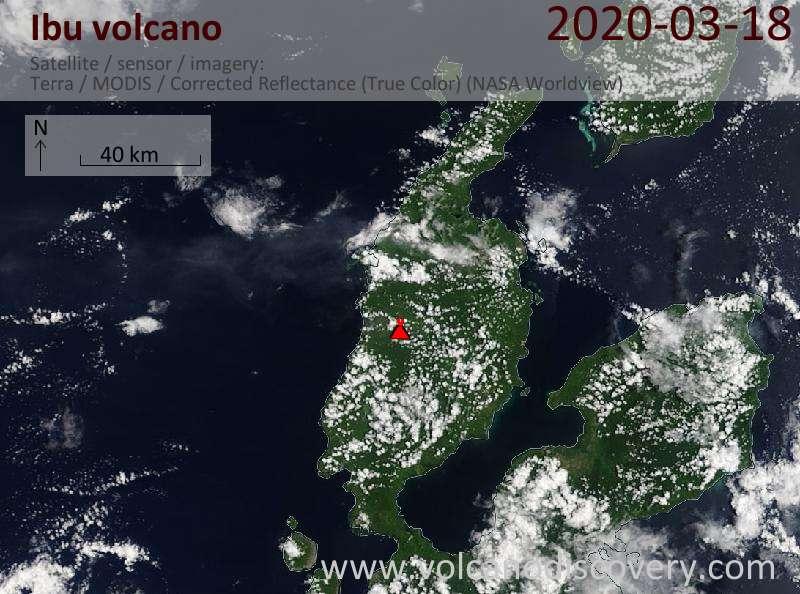 Satellite image of Ibu volcano on 18 Mar 2020