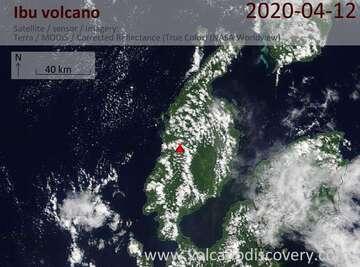 Satellite image of Ibu volcano on 12 Apr 2020