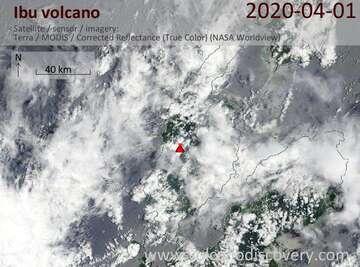 Satellite image of Ibu volcano on  1 Apr 2020