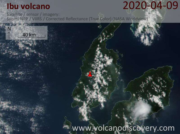 Satellite image of Ibu volcano on  9 Apr 2020