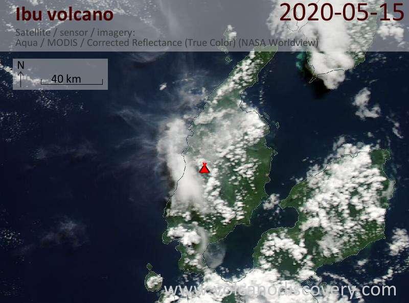 Satellite image of Ibu volcano on 15 May 2020