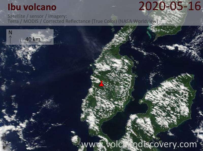 Satellite image of Ibu volcano on 16 May 2020