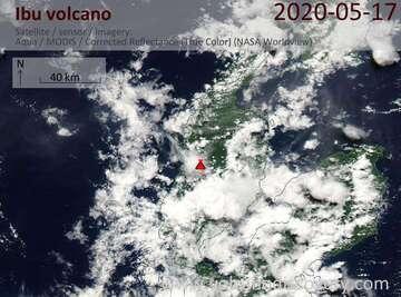 Satellite image of Ibu volcano on 17 May 2020