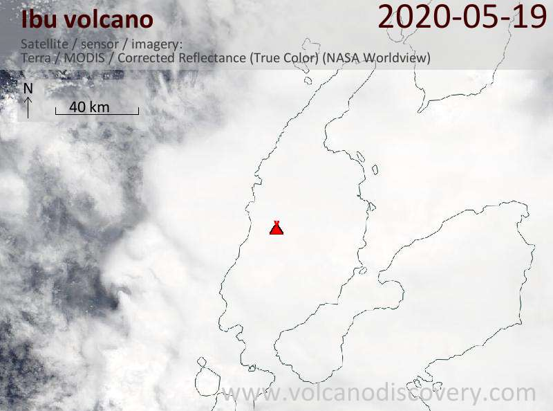Satellite image of Ibu volcano on 19 May 2020