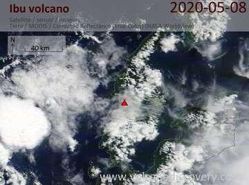 Satellite image of Ibu volcano on  8 May 2020