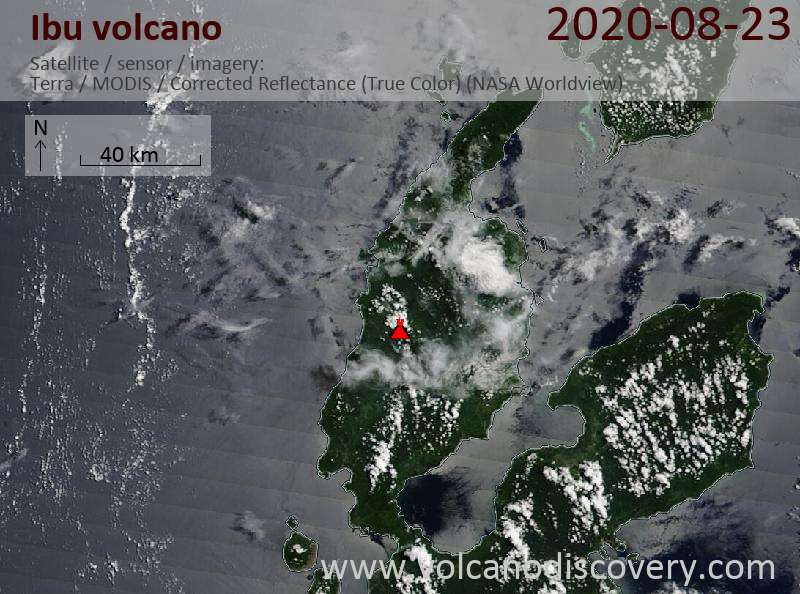 Satellitenbild des Ibu Vulkans am 23 Aug 2020