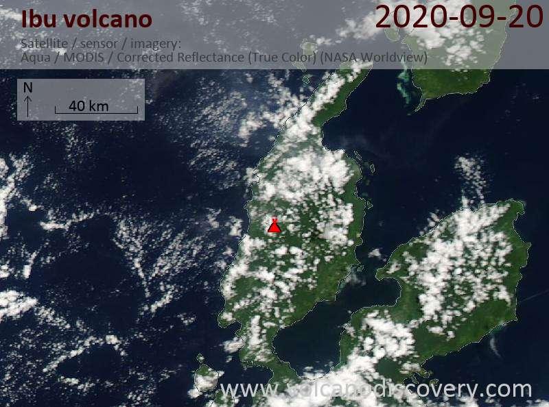 Satellite image of Ibu volcano on 20 Sep 2020