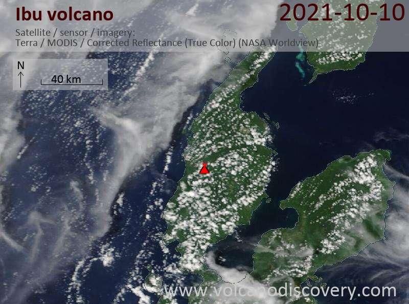 Satellite image of Ibu volcano on 11 Oct 2021