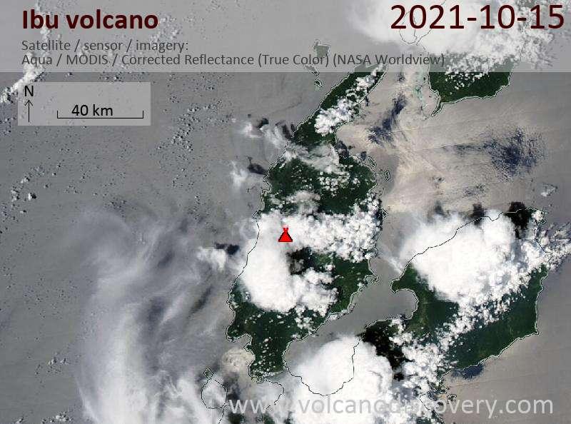 Спутниковое изображение вулкана Ibu 16 Oct 2021