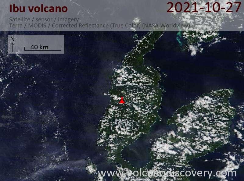 Satellite image of Ibu volcano on 27 Oct 2021