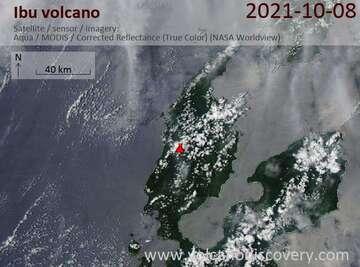 Satellite image of Ibu volcano on  9 Oct 2021
