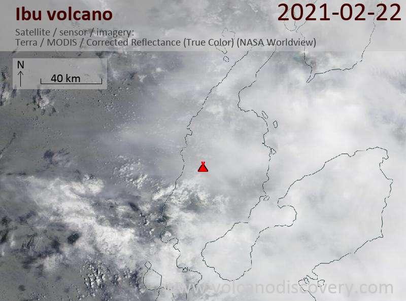 Satellite image of Ibu volcano on 22 Feb 2021