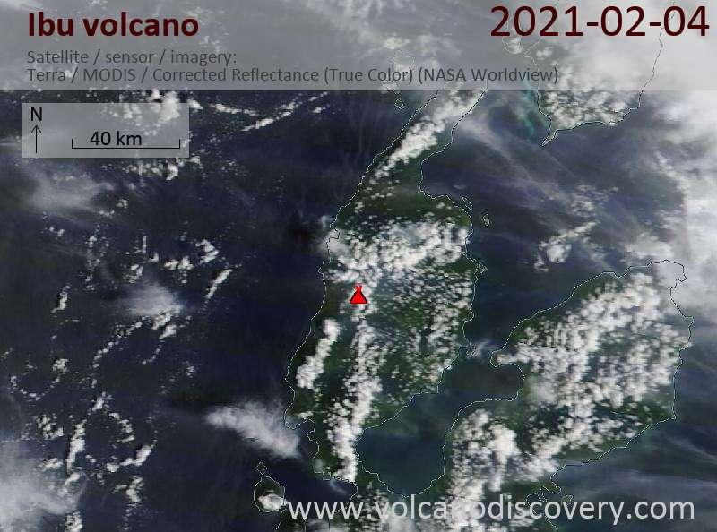 Satellite image of Ibu volcano on  4 Feb 2021