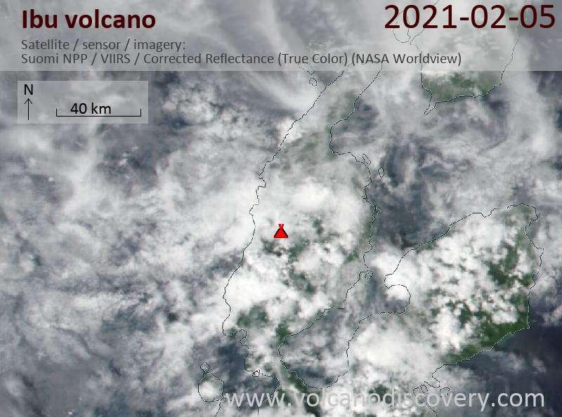 Satellite image of Ibu volcano on  5 Feb 2021
