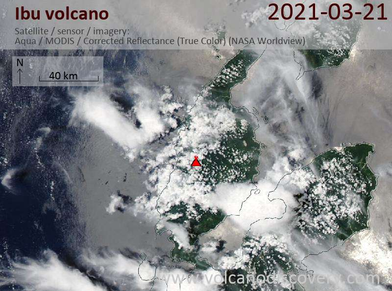 Satellite image of Ibu volcano on 21 Mar 2021
