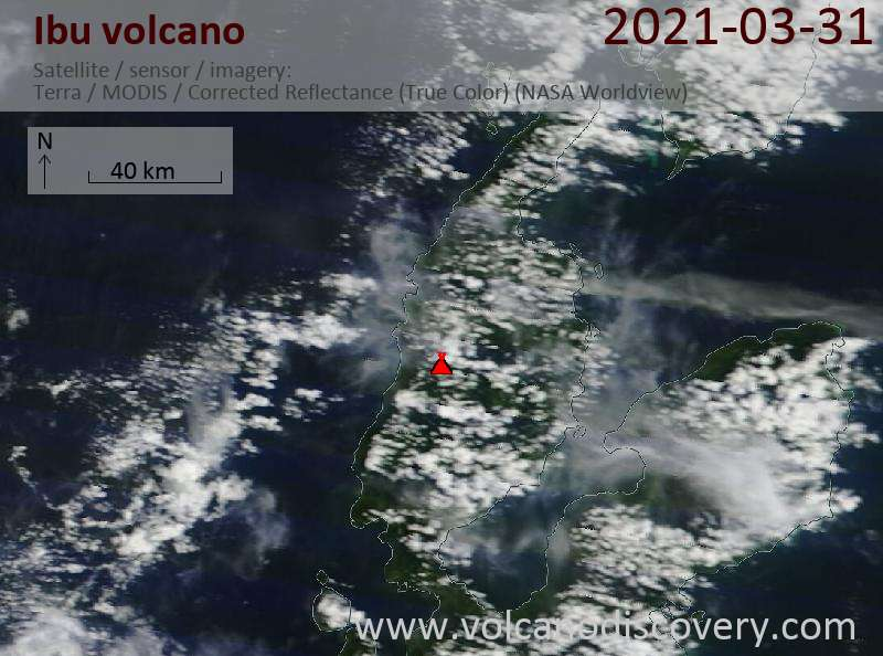 Satellite image of Ibu volcano on 31 Mar 2021