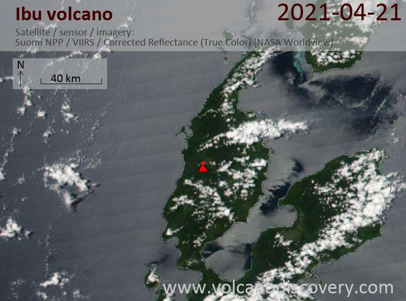 Satellitenbild des Ibu Vulkans am 22 Apr 2021