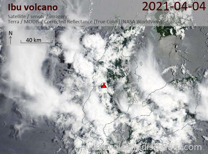 Satellite image of Ibu volcano on  4 Apr 2021