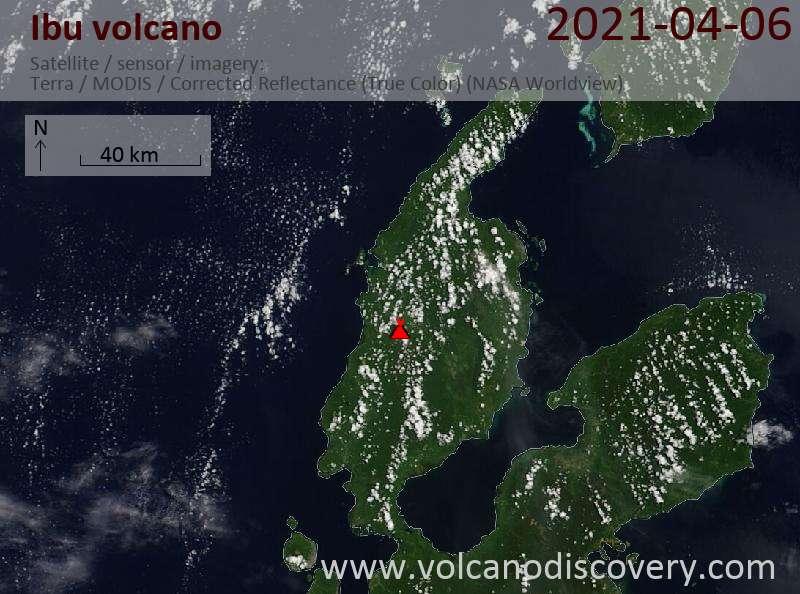 Satellitenbild des Ibu Vulkans am  6 Apr 2021
