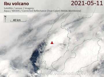Satellite image of Ibu volcano on 11 May 2021