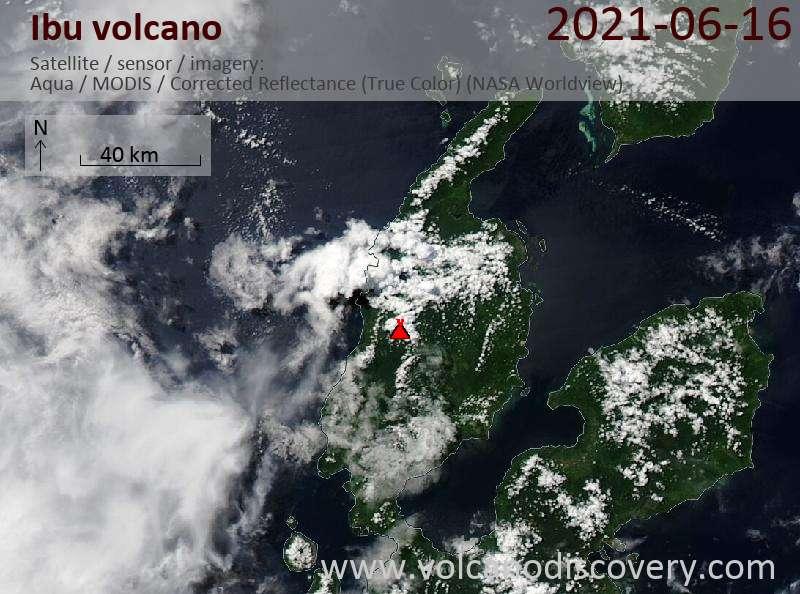 Satellite image of Ibu volcano on 16 Jun 2021