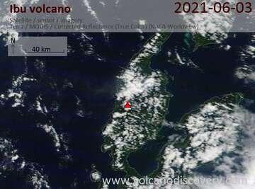 Satellite image of Ibu volcano on  5 Jun 2021