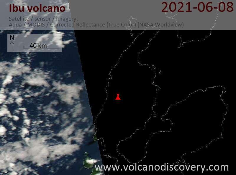 Satellite image of Ibu volcano on  9 Jun 2021