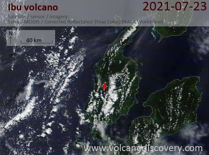 Satellite image of Ibu volcano on 28 Jul 2021