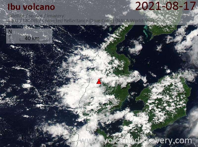 Satellite image of Ibu volcano on 17 Aug 2021