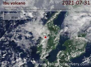 Satellite image of Ibu volcano on  1 Aug 2021