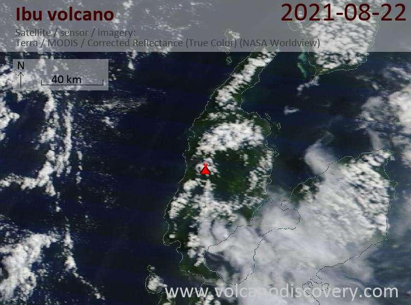 Satellite image of Ibu volcano on 23 Aug 2021