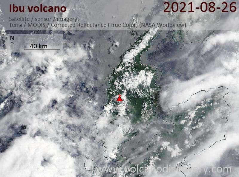 Satellite image of Ibu volcano on 26 Aug 2021