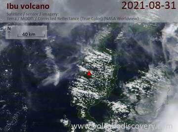 Satellite image of Ibu volcano on  1 Sep 2021