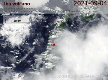 Satellite image of Ibu volcano on  6 Sep 2021