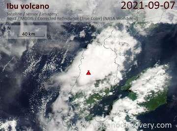 Satellite image of Ibu volcano on  7 Sep 2021