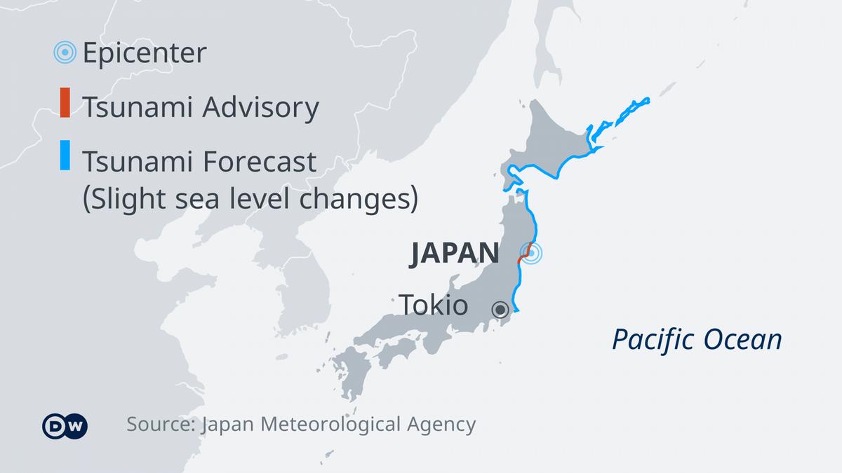 Peringatan tsunami dikeluarkan di lepas pantai timur Jepang (Sumber: Kantor Meteorologi Jepang)