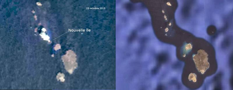 A new island appeared in the Zubair archipelago on or before 23 Oct (Google Earth image for comparison) (source: Blog Culture Volcan)