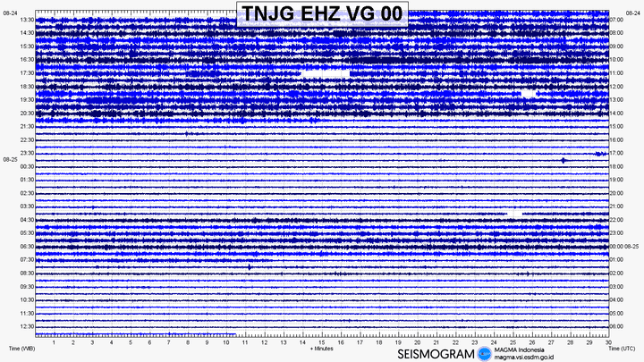 Seismic signal of a station on Krakatau volcano showing an eruptive phase earlier today (image: PVMBG)