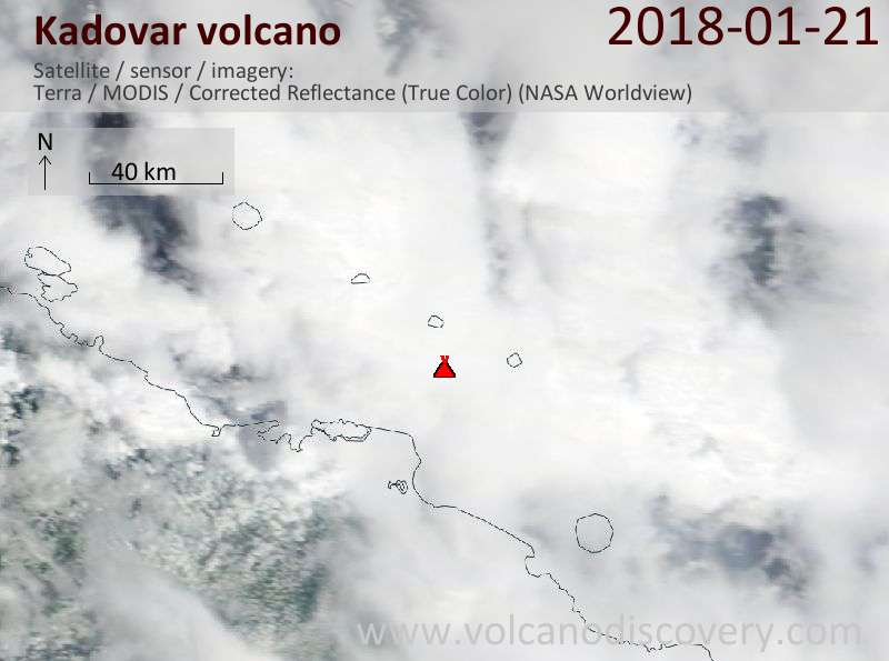 Satellite image of Kadovar volcano on 21 Jan 2018