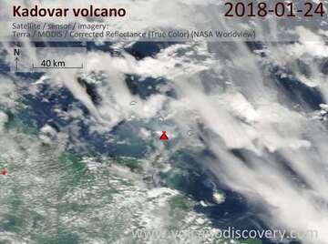 Satellite image of Kadovar volcano on 24 Jan 2018