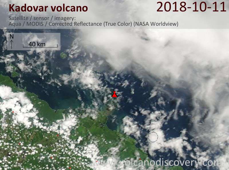 Satellite image of Kadovar volcano on 11 Oct 2018