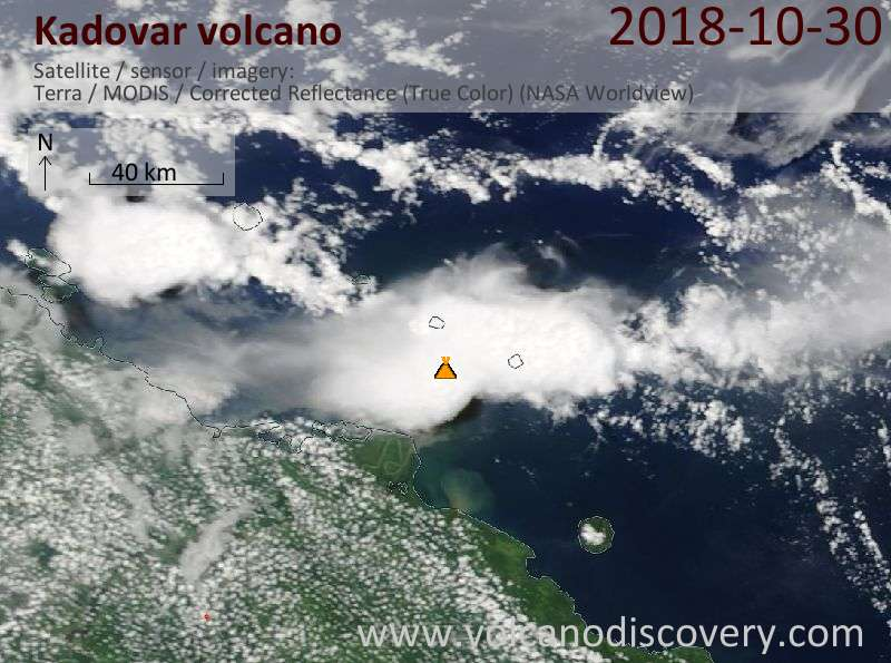 Satellite image of Kadovar volcano on 30 Oct 2018