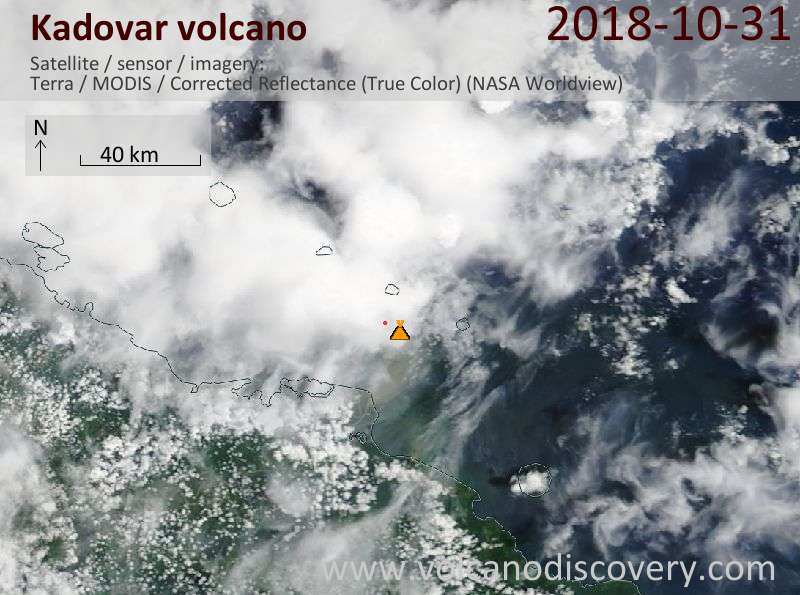 Satellite image of Kadovar volcano on 31 Oct 2018