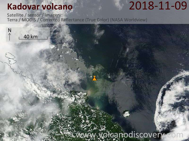Satellite image of Kadovar volcano on  9 Nov 2018