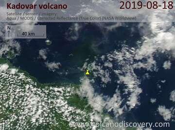 Satellite image of Kadovar volcano on 18 Aug 2019