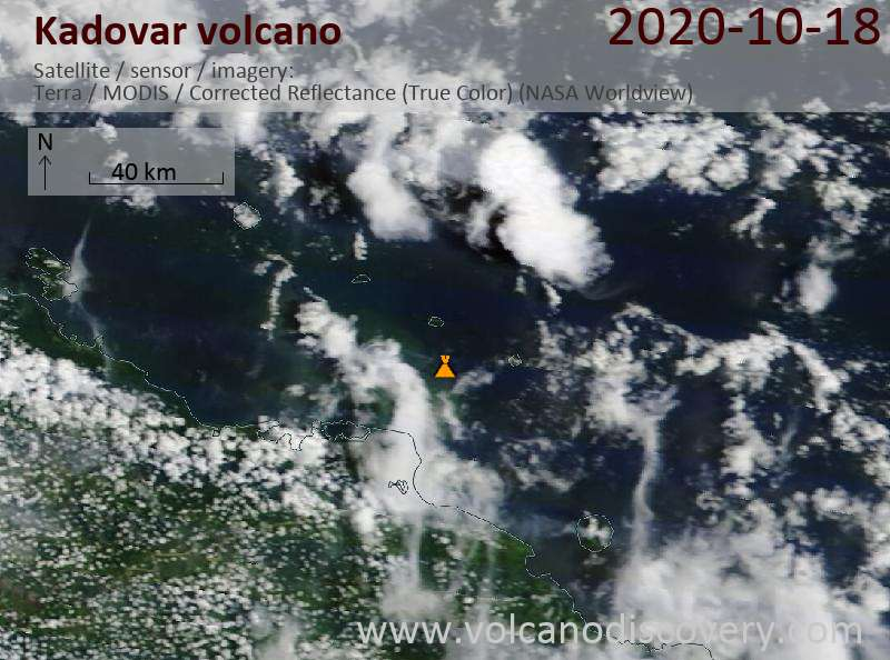 Satellite image of Kadovar volcano on 18 Oct 2020